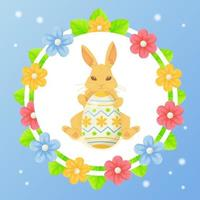 Round Easter greeting card with bunny eggs lives and flowers Can be used for promotion invitation special offer typography template concept Stock vector illustration in cartoon realistic style