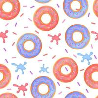 Sweet colorful baked glazed donuts or doughnuts Seamless pattern with sprinkles and splashes vector