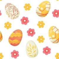Easter egg seamless pattern pink yellow flowers vector