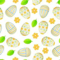 Easter egg seamless pattern blue yellow with flowers vector