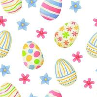 Easter egg seamless pattern pink blue flowers vector