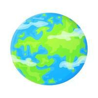 Planeta tierra plana clipart lindo objeto de dibujos animados se puede utilizar como símbolo global concepto de ecología stock vector ilustración aislado sobre fondo blanco
