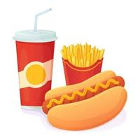 Tasty bright Hot Dog with soda and french fries combo  World no diet day  unhealthy fast food concept  Can be used for web  menu  banner vector