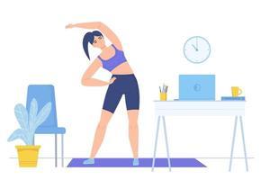 Chica practicando fitness en estera en casa deporte en línea estilo de vida saludable trabajo remoto concepto de descanso stock vector ilustración aislado sobre fondo blanco en estilo de dibujos animados plana