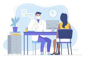 Doctor in mask consulting female patient  Physycian sitting at the desk with monitor  Family therapist  health care  clinic workspace concept  Stock vector illustration in flat style isolated on white