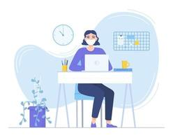 Girl in face mask sitting at the desk with laptop  Lockdown  remote work  freelancer workspace  quarantine online education concept vector