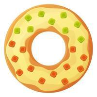 Donut brillante con glaseado sin símbolo de día de dieta comida poco saludable dulce comida rápida azúcar bocadillo calorías adicionales concepto stock vector ilustración aislado sobre fondo blanco en estilo de dibujos animados