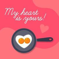 Happy Valentines Day background  lovely scrambled heart shape eggs on frying pan vector