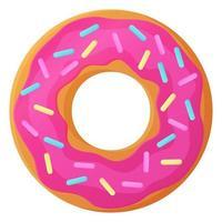 Donut rosa brillante con glaseado sin símbolo de día de dieta comida poco saludable dulce comida rápida bocadillo de azúcar calorías adicionales concepto stock vector ilustración aislado sobre fondo blanco en estilo de dibujos animados