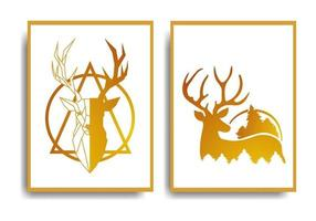 diseño de cartel de ciervo abstracto elegante y lujoso conjunto de diseño vector