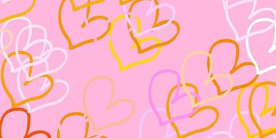 Light Pink, Yellow vector backdrop with sweet hearts.