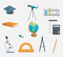 School icons set in flat style Illustration vector