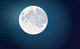 Full moon with stars dark black sky at night vector