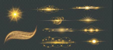 Shining gold star light set with Sparkling and twinkling golden stars vector