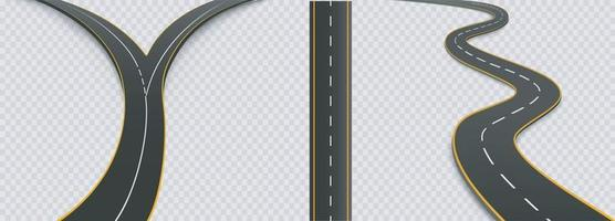 Winding curved road or highway set vector