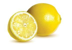 Group of ripe whole yellow lemon citrus fruit with lemon fruit half isolated vector