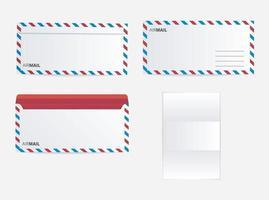 Letter post office airmail envelope set vector