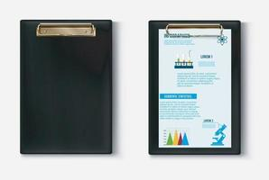 Black clipboard with a document set vector