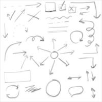 Set of Doodle lines Arrows circles and curves vector