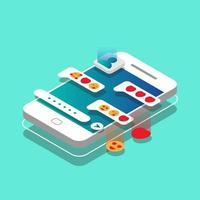 isometric phone with chat concept vector