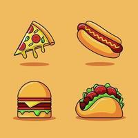 Fast food vector icon illustration set