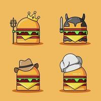Conjunto de ilustración de icono de vector de mascota de hamburguesa