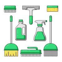Conjunto de ilustración de icono de vector de equipo de limpieza de superficie