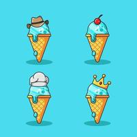 Ice cream cartoon vector icon illustration set