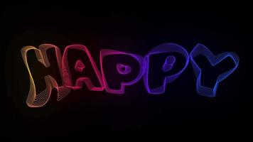 Happy Creative Typography Text Animation with Wavy Colorful Lines video
