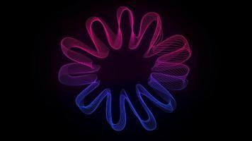 fundo abstrato com flor feito de linhas coloridas onduladas video