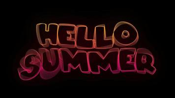 Hello Summer Creative Typography Text Animation with Wavy Colorful Lines video