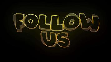 Follow Us Creative Typography Text Animation with Wavy Colorful Lines video