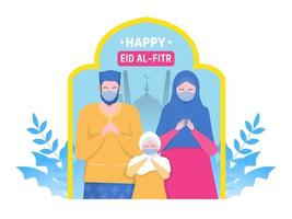 Happy Muslim parents and child pray on religious holiday characters on cartoon flat vector
