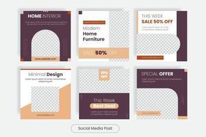 Furniture square social media post template banner set vector