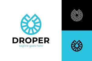gota logo azul gotita lineas aqua logotipo icono vector