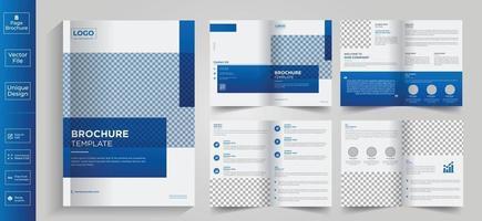 diseño geométrico minimalista y limpio de plantilla de color azul de 8 páginas para folleto vector