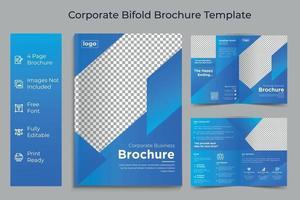 diseño de concepto de negocio corporativo de plantilla de folleto de doble pliegue empresarial vector