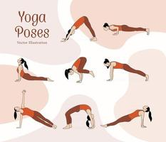 line art style with flat  color vector illustration of yoga poses