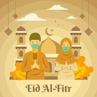 Eid mubarak or eid alfitr illustration with wearing mask prevents covid 19 vector