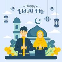 Illustration of eid al fitr greeting card vector
