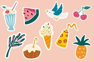 Set of summer stickers Seagull ice cream coconut cocktail pineapple cream watermelon palm leaf Beach vacation Summer icon objects Print ready stickers Vector illustration