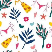 Seamless summer pattern with leaves and beach items Summer vacation Vector illustration for fabric wrapping paper wallpaper textile background