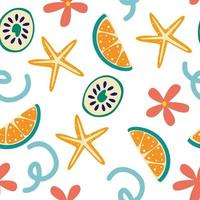 Seamless summer pattern with lemon slices and flowers Summer vibrant design Exotic tropical fruit Fresh lime starfish and flowers Whole lemon slice Vector illustration in a flat style