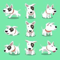 personaje de dibujos animados bull terrier poses de perro vector