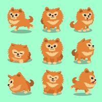 Cartoon character pomeranian dog poses vector