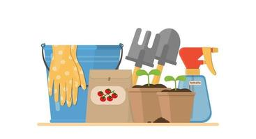 Composition with gardening tools isolated on white background Bundle of equipment for agricultural work plant cultivation or transplantation work in garden Vector illustration