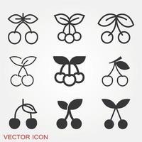 Cherry Icons Set vector