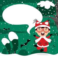 Christmas Greeting Card Design With Cartoon Character vector