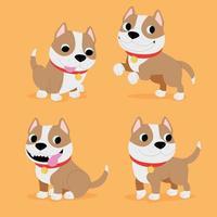 Hand Drawn Cute Cartoon Pitbull Set Collection Brown Adorable Bulldog Animals Vector Illustration