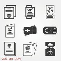 conjunto de iconos de documentos de viaje vector